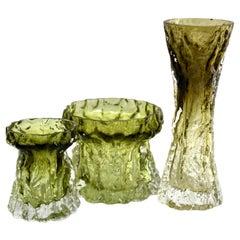 Ingrid Glas 'Germany', Set of Bark Vases in Sage Green, 1970s