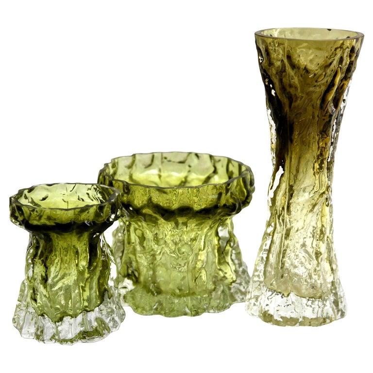 Ingrid Glas 'Germany', Set of Bark Vases in Sage Green, 1970s For Sale