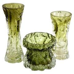Ingrid Glass 'Germany' Set of Bark Vases in Sage Green, 1970s