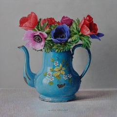 Anemones in Enamel Can - 21st Century Contemporary Still-Life Painting