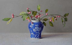 Cardinal Hat in Blue Chinese Pot- 21st Century Contemporary Still-Life Painting
