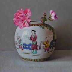 Geranium in Chinese Pul - 21st Century Contemporary Still-Life Painting