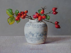 Rose Hips in White Ginger Jar, 21st Century Contemporary Still-Life Oil Painting