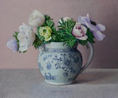 Wedgwood Etruria with Anemones - 21st Century Contemporary Still-Life Painting