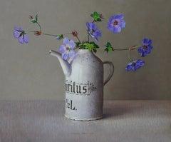 Wild Geranium in Little White Jug - 21st Century Contemporary Oil Painting