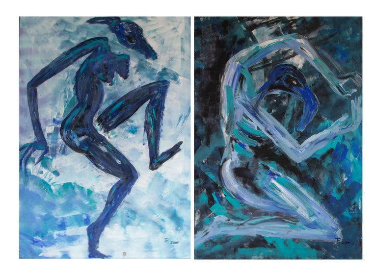 Canvas Ingrid Stolzenberg 'Female Chimera' German Post Expressionism Painting For Sale