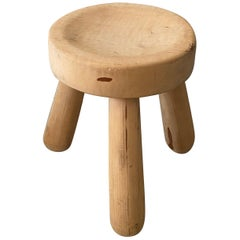 Ingvar Hildingsson, Functionalist Stool, sculpted solid pine, Sweden, 1960s