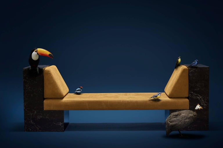 The daybed INI is a sculptural and multifunctional furniture (bench, sofa or bed).  It was inspired by the indigenous use of the hammock. INI in Tupi Guarani means resting hammock. The daybed INI is filled by this meaning in use and its design.  The