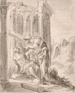 FINE EARLY 17TH CENTURY OLD MASTER INK DRAWING - THE HEALING OF A BLIND MAN