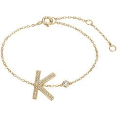 Initial Bezel Chain Bracelet