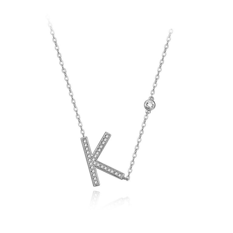 Modern K Initial Bezel Chain Necklace For Sale