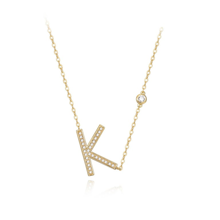 K Initial Bezel Chain Necklace In New Condition For Sale In New York, NY