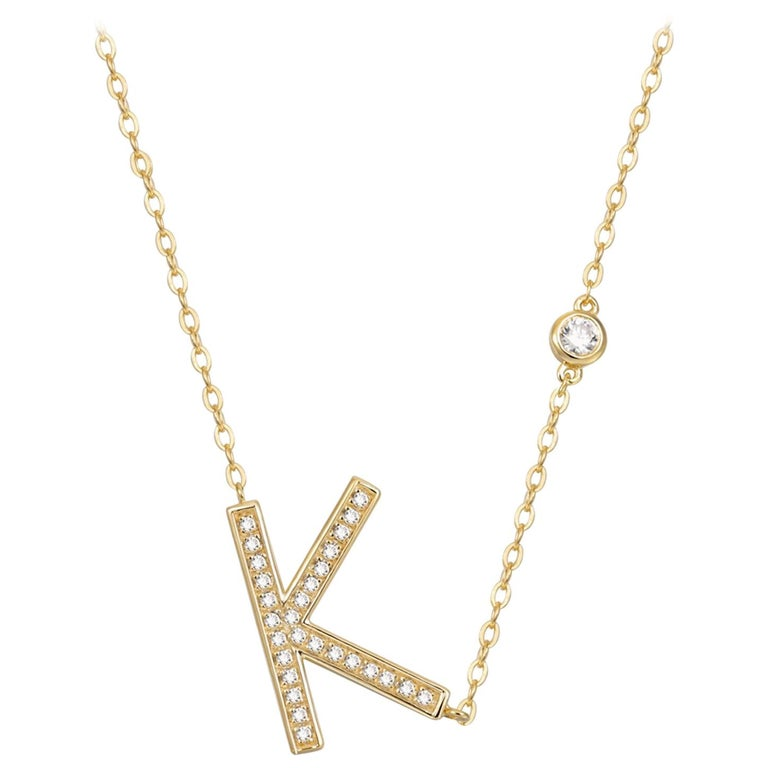 K Initial Bezel Chain Necklace For Sale