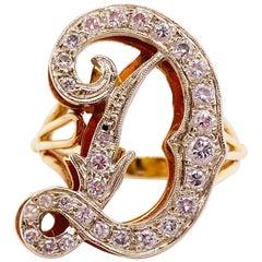 Initial Diamond Ring, Letter D Ring, 14K White Yellow Gold, Diva Ring, Diamond D