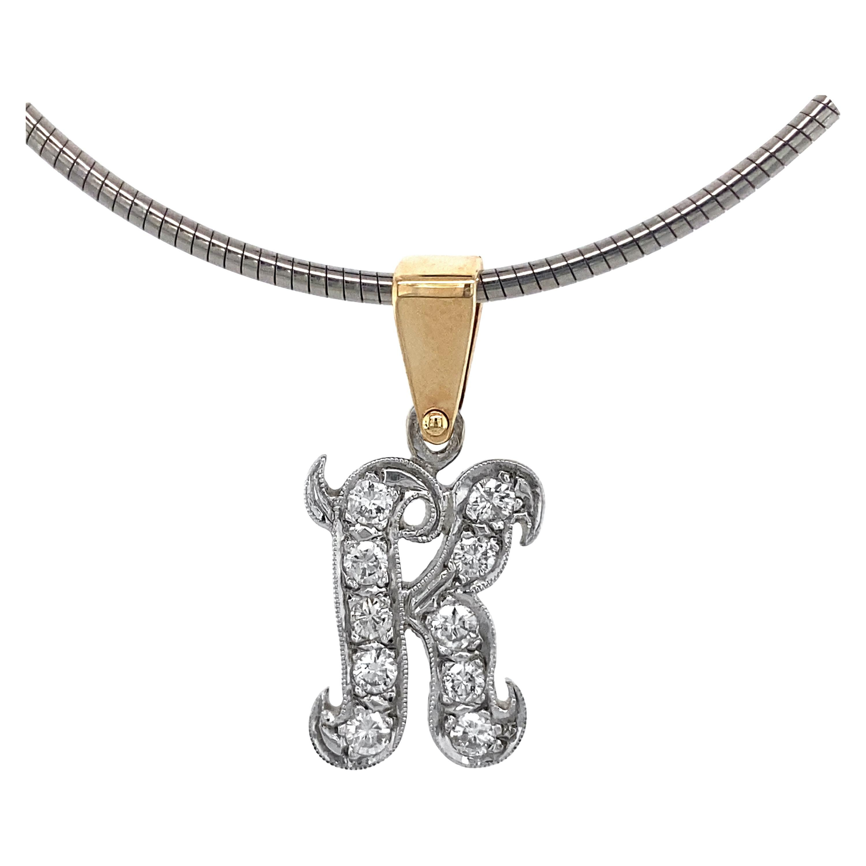 """Initial """"K"""" Pendant with Old Cut Diamonds in White & Yellow Gold on Steel Omega"""