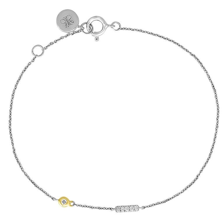 """Initial Letter """"I"""" Diamond Gold Pendant Charm Bracelet For Sale"""