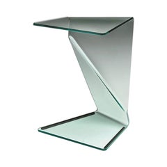 Initial Side Table Casted in One Slab of Curved Clear Glass