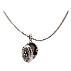 Initials Locket Pendant Signet in Silver and Black Diamond Pavè from IOSSELLIANI