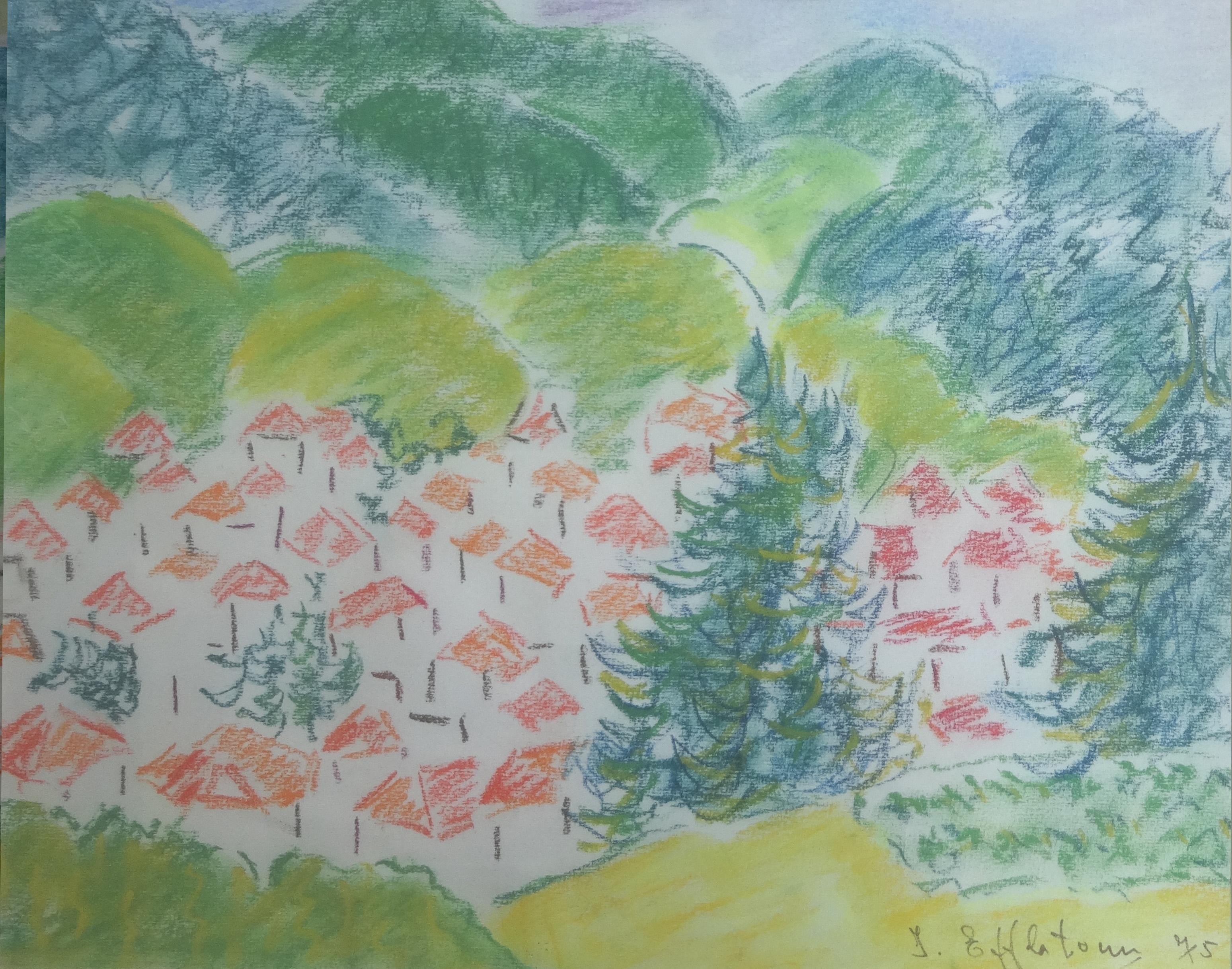 """""""Houses I"""" Pastel Painting 9"""" x 12"""" in by Inji Efflatoun"""