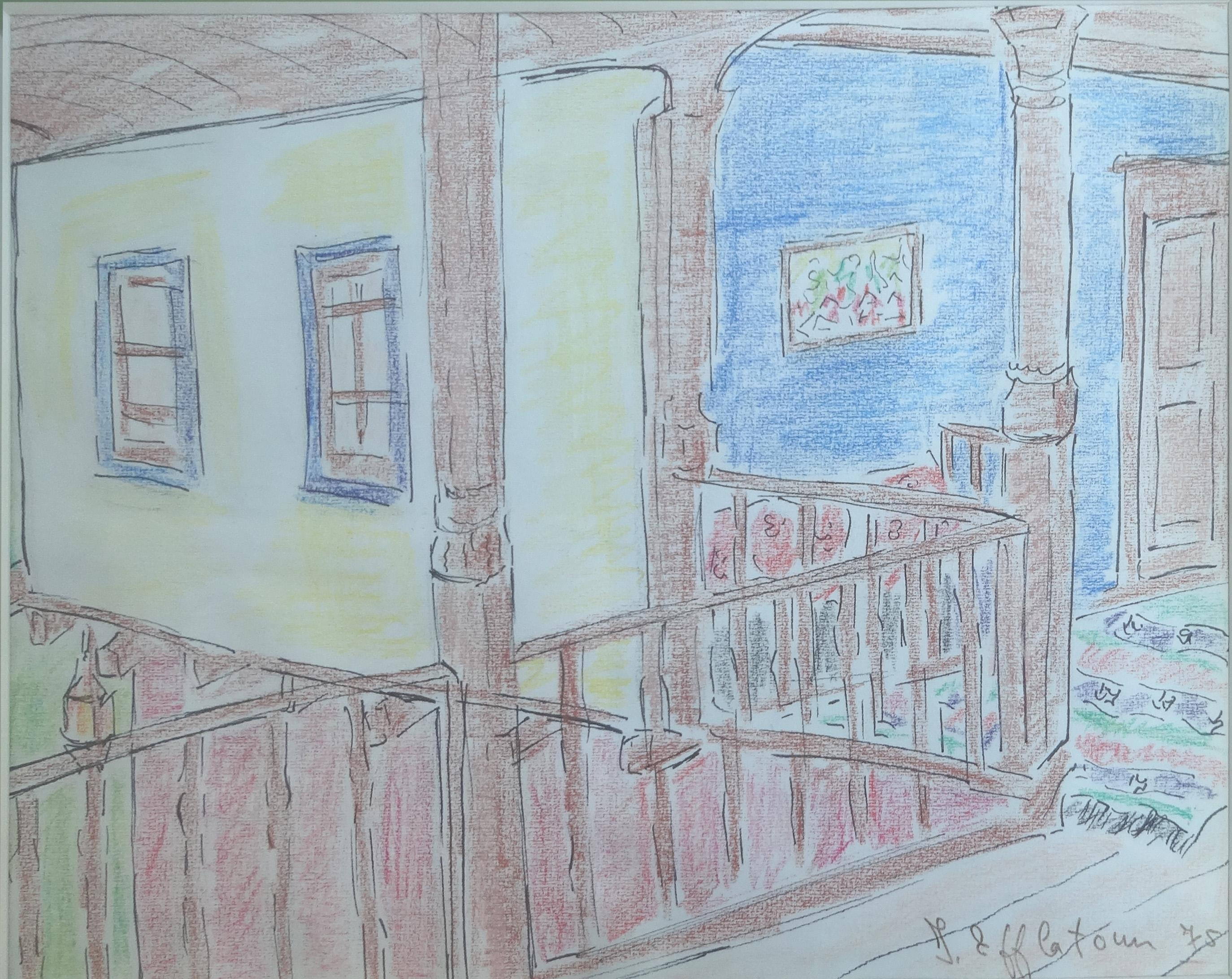 """""""Interior of A Countryside House"""" Pastel Painting 9"""" x 12"""" in by Inji Efflatoun"""