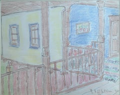 """Interior of A Countryside House"" Pastel Painting 9"" x 12"" in by Inji Efflatoun"