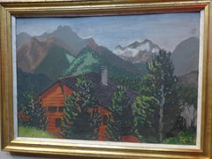 """""""Landscape from Switzerland I"""" Oil Painting 13"""" x 19"""" inch by Inji Efflatoun"""