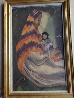 """Motherhood II"" Oil Painting 16"" x 10"" inch by Inji Efflatoun"