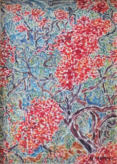 Trees in Blossom in Egypt - Oil painting - Signed (1972)