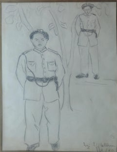 """""""Two Soldiers III"""" Inks on Paper Painting 14"""" x 10"""" in by Inji Efflatoun"""