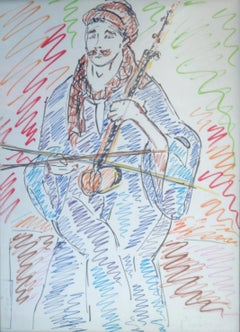 """""""Upper Egypt Musician"""" Colored Pencils drawing 13"""" x 9"""" in by Inji Efflatoun"""