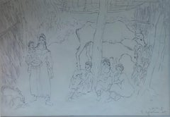 """""""Village Life"""" Inks on Paper Painting 15"""" x 22"""" in by Inji Efflatoun"""