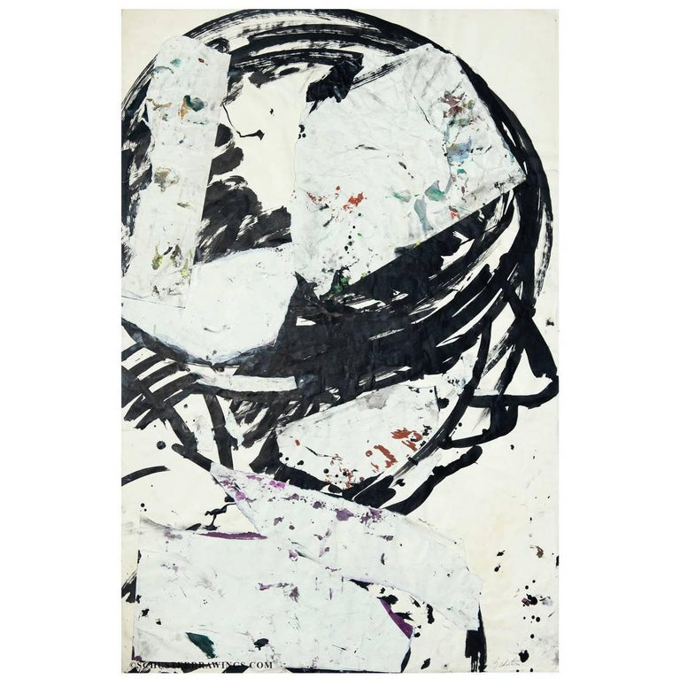 Ink and Charcoal Abstract Paper Collage Head 3 from Sylvia Schuster