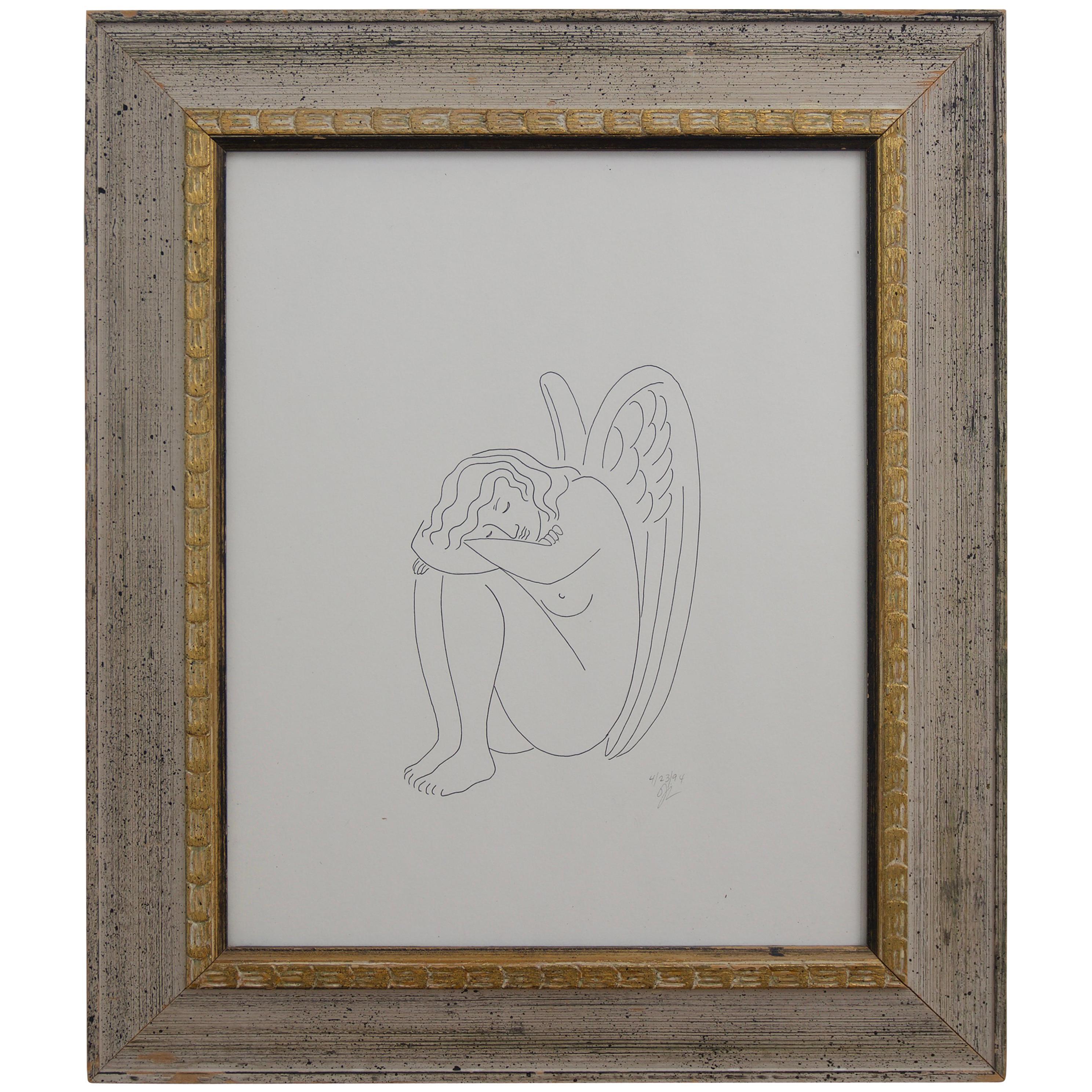 Ink Drawing of a Slumbering Angel