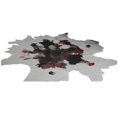 Ink on Leather Bespoke Rug and Wall Hanging Maggio Etheral Image of Woman