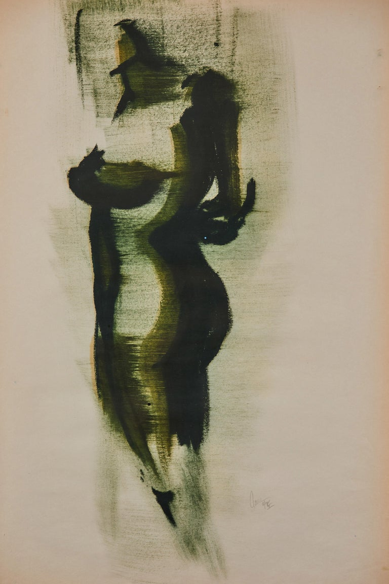 Oak framed figurative drawing, ink on paper by Greg Lauren.  Greg Lauren is a painter, sculptor and actor who works in a broad range of media. He earned his B. A. in Art History from Princeton University and, as the nephew of fashion designer