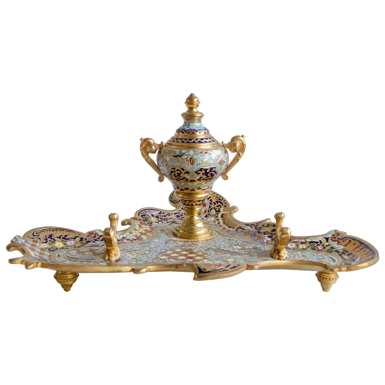 Inkwell Gilt Bronze and Enamel Napoleon III