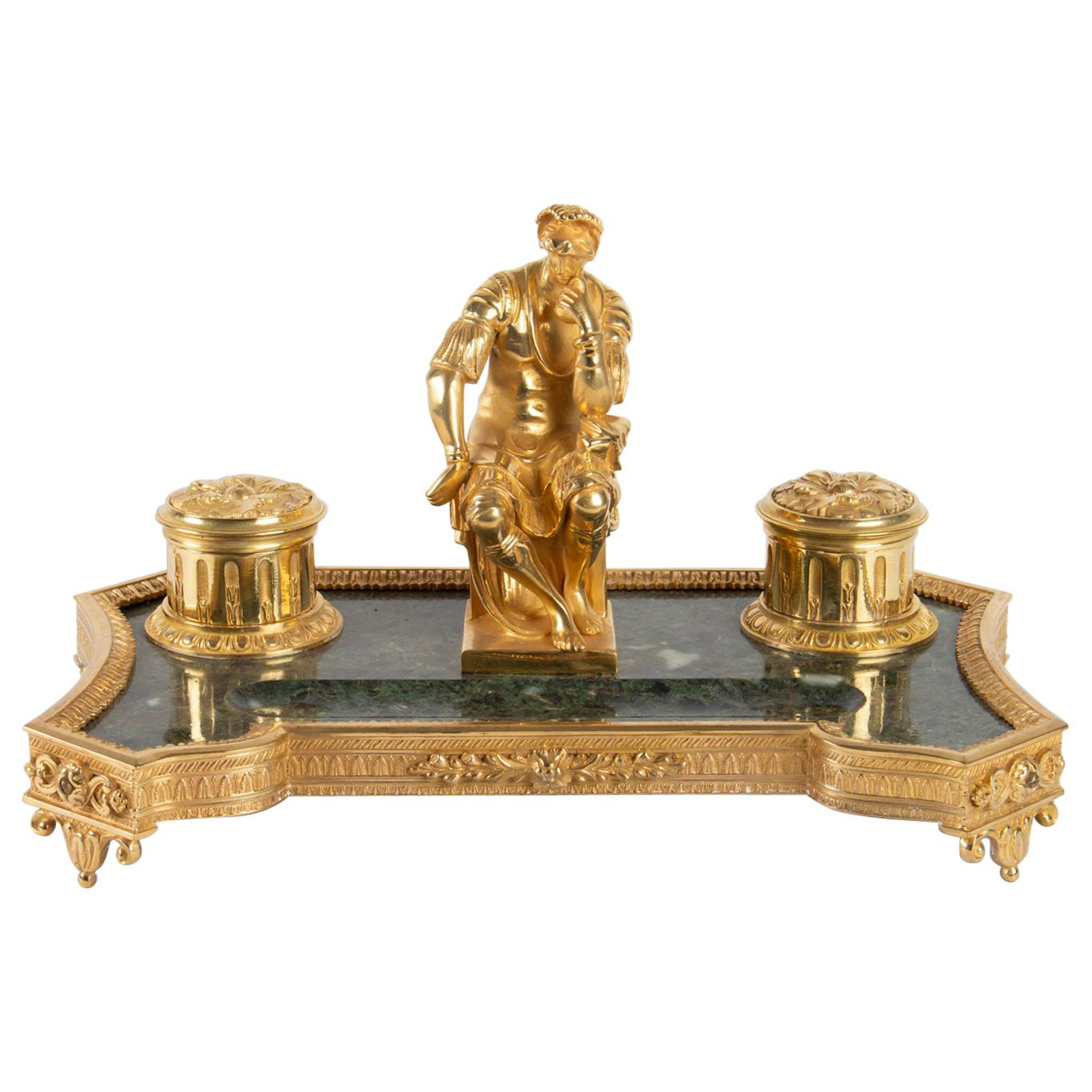 "Inkwell in Gilt Bronze and Marble, ""The Thinker"", 19th Century, Napoleon III"