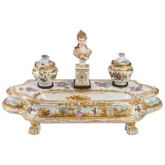 Inkwell in Meissen Porcelain, 19th Century