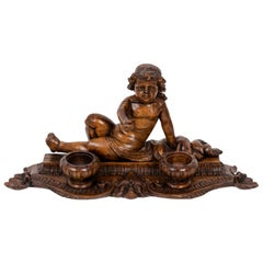 Inkwell in Wood Figuring a Child, 19th Century