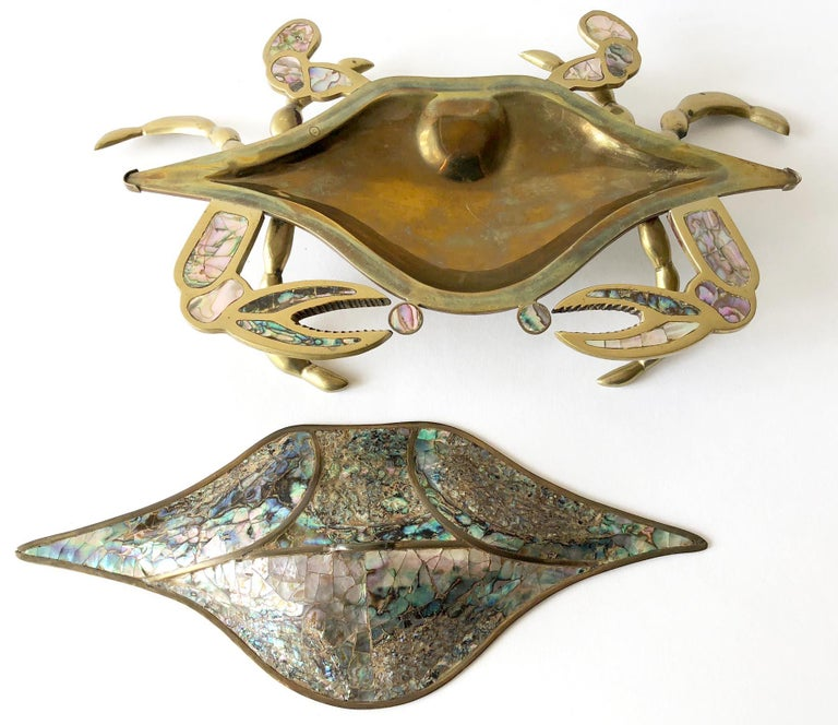 Mid-Century Modern Mexican Modernist Inlaid Abalone Shell Brass Covered Crab Tray For Sale