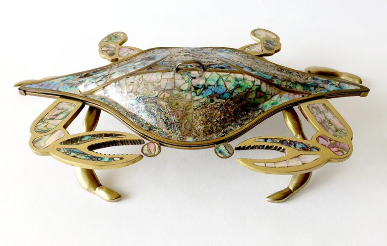 Mid-20th Century Mexican Modernist Inlaid Abalone Shell Brass Covered Crab Tray For Sale