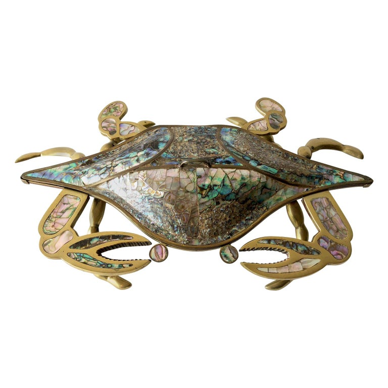 Mexican Modernist Inlaid Abalone Shell Brass Covered Crab Tray For Sale