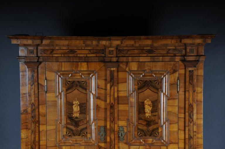 Inlay Inlaid Baroque Cabinet, Walnut, German, circa 1730 For Sale