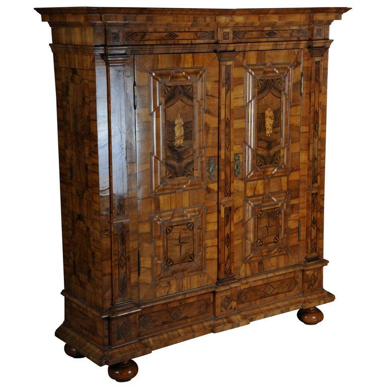 Inlaid Baroque Cabinet, Walnut, German, circa 1730 For Sale