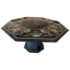 Inlaid Black Marble, Hexagonal Form Dining Table, France