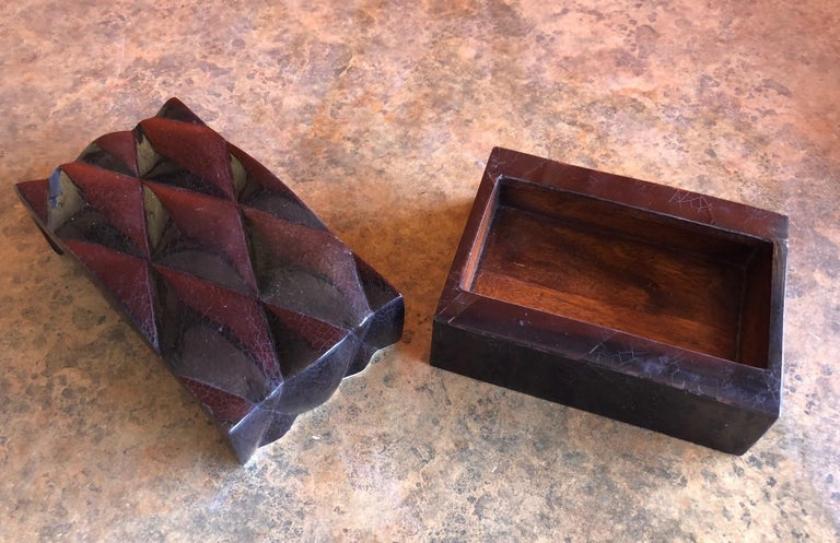20th Century Inlaid Black Shell and Bone Box by A&Y Augousti For Sale