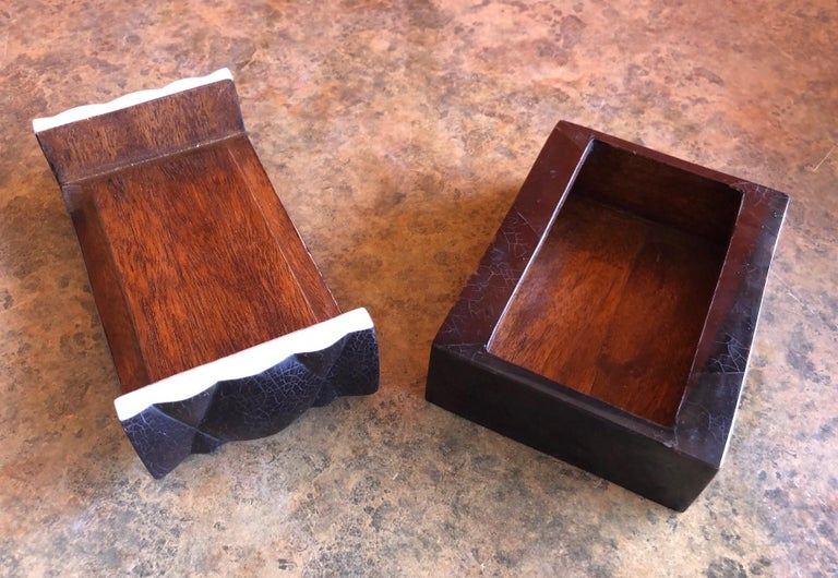 Inlaid Black Shell and Bone Box by A&Y Augousti For Sale 1