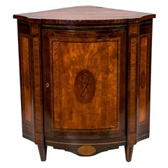 Inlaid Bow Front Corner Cabinet