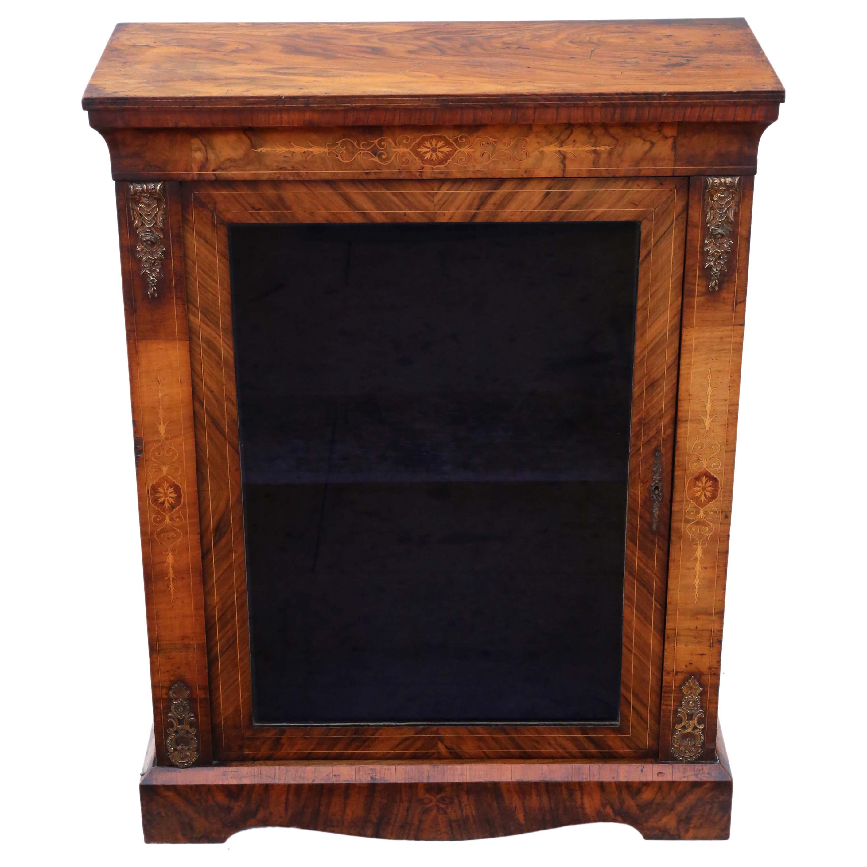 Inlaid Burr Walnut Pier Display Cabinet Victorian, 19th Century