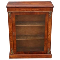 Inlaid Figured Walnut Pier Display Cabinet